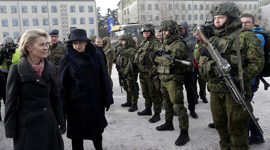 NATO troops from Germany arrive in Lithuania as Trump pledges support for alliance