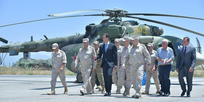 President Al-Assad at Hmeimim Airbase: Russia Provided Weapons, Blood in Support of Syria