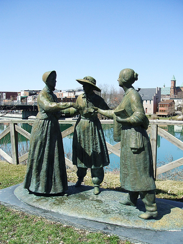 Mrs. Stanton, Amelia Bloomer, Susan B. Anthony Statues