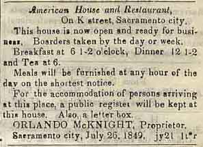 American House Advertisement 1849