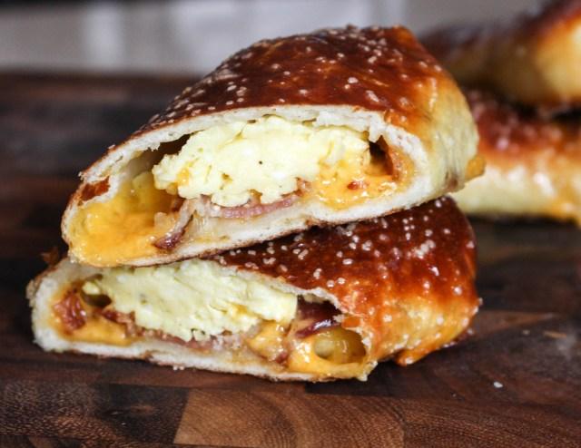 Breakfast-Stuffed Soft Pretzels - homemade soft pretzels stuffed with eggs, bacon, & cheese. These are incredible | Yes to Yolks