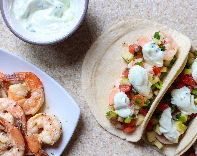 Shrimp Tacos with Watermelon-Apple Salad & Goat Cheese-Cilantro Cream | Yes to Yolks