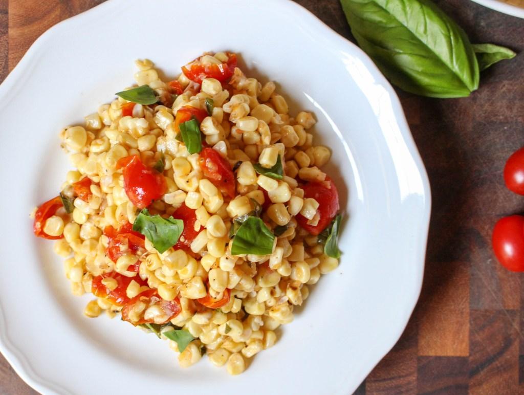 Grilled Corn & Tomato Salad with Shallot-Basil Vinaigrette   Yes to Yolks