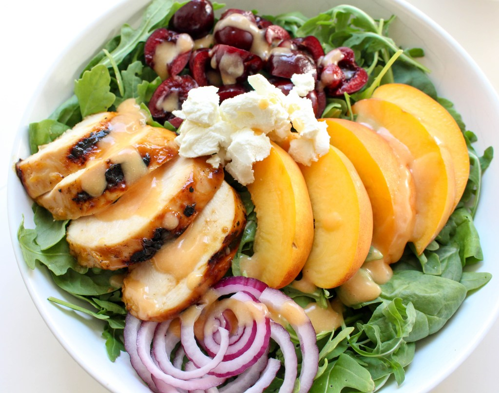 Peach-Glazed Grilled Chicken Salad with Cherries & Goat Cheese | Yes to Yolks