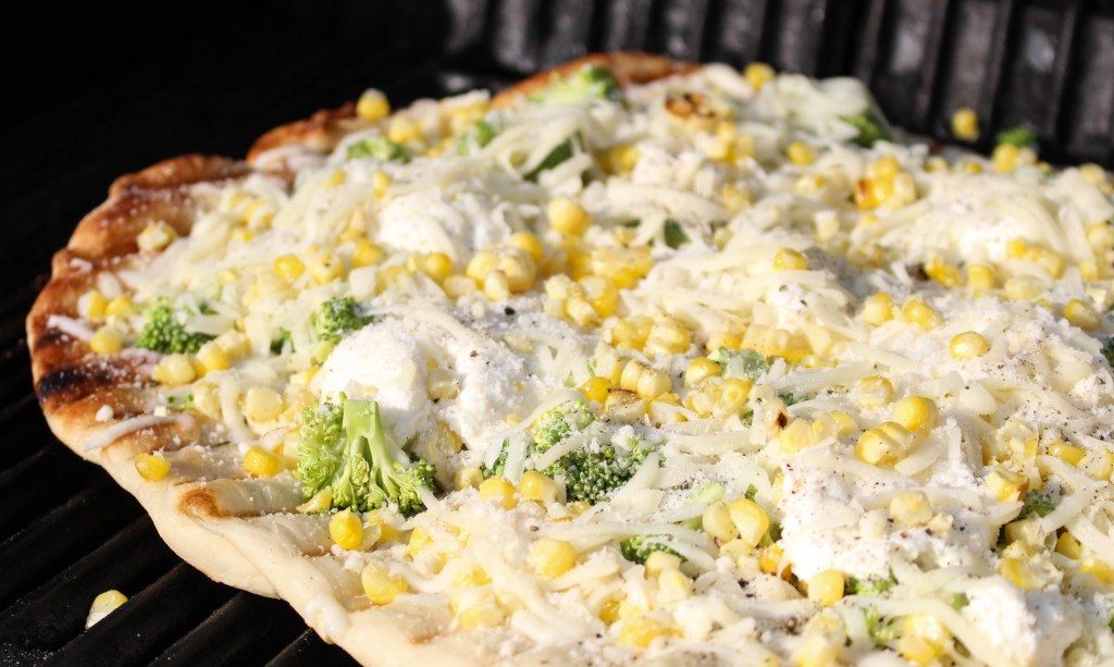 Grilled White Pizza with Ricotta, Corn, & Broccoli | Yes to Yolks