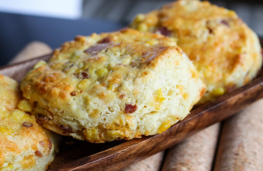 Bacon, Corn, & Cheddar Breakfast Biscuits | Yes to Yolks
