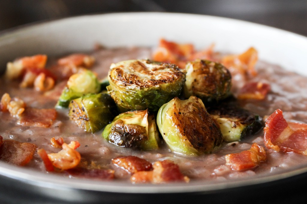 Red Wine Risotto with Bacon & Roasted Brussels Sprouts | Yes to Yolks