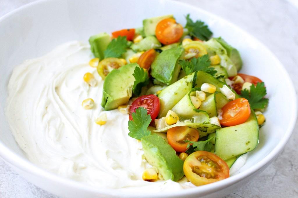 Whipped Feta-Ricotta with Shaved Zucchini, Grilled Corn, & Chimichurri Vinaigrette