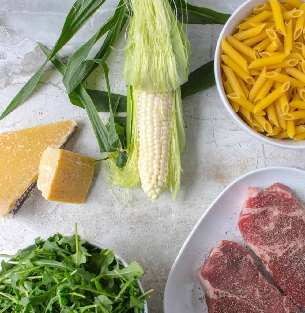 Penne with Steak, Corn, & Arugula