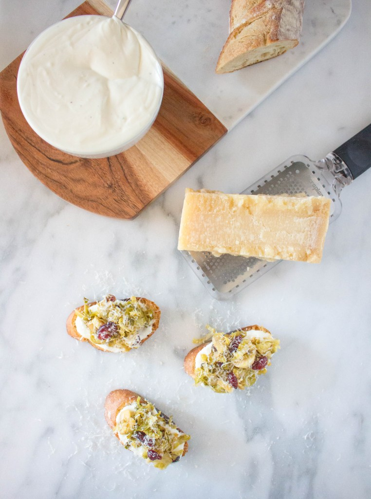 Agrodolce Brussels Sprout Crostini with Whipped Ricotta | yestoyolks.com