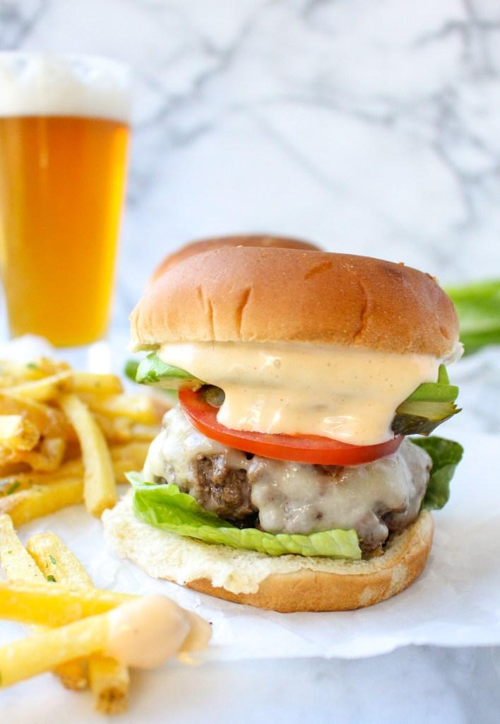 Short Rib Cheeseburgers with Smoky Bourbon Aioli | yestoyolks.com