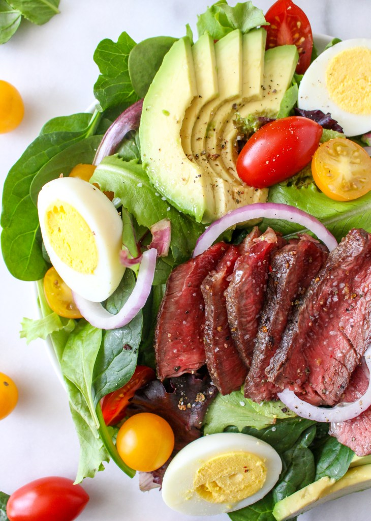Steak Cobb Salad with Caramelized Onion-Yogurt Dressing | yestoyolks.com