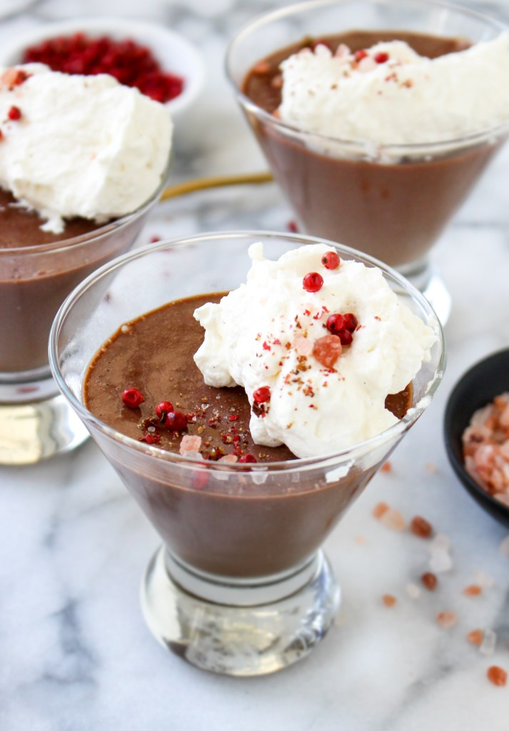 Chocolate Pots de Creme with Pink Peppercorns & Himalayan Sea Salt | yestoyolks.com