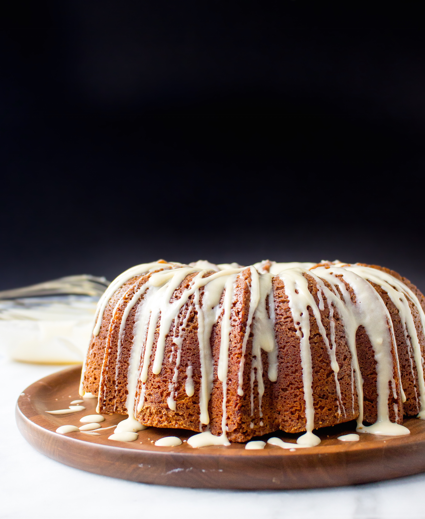 Cinnamon Roll Coffee Cake with Vanilla Bean Cream Cheese Glaze