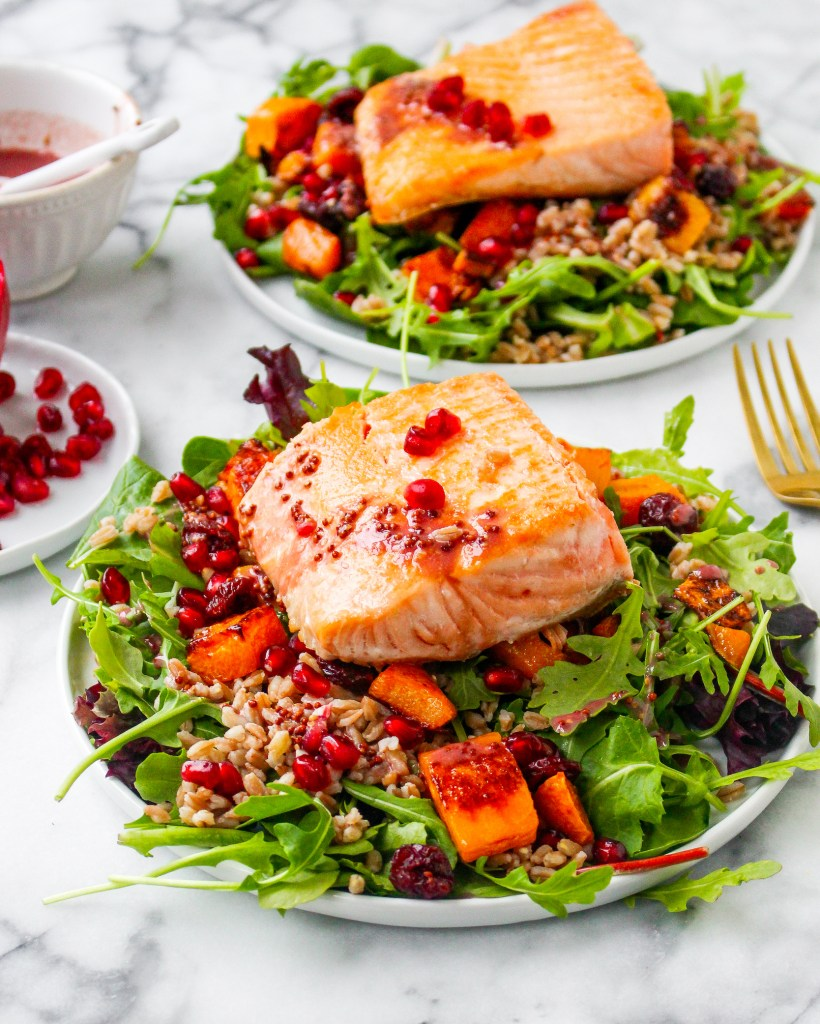 Pomegranate & Farro Salmon Salad