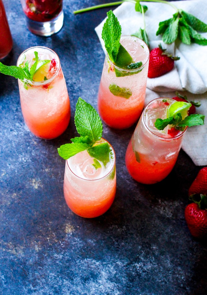 Strawberry Rhubarb Mojitos