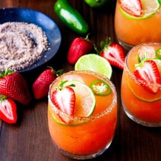 Smoky Strawberry Jalapeño Margaritas with Chile Salt Rim