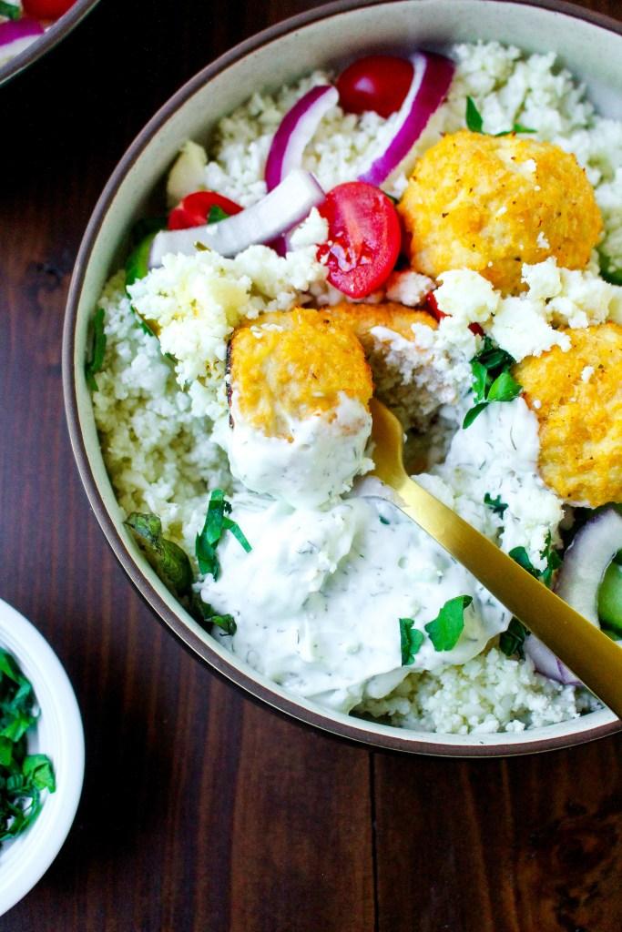 Greek Meatball Bowls with Cauliflower Rice & Tzatziki
