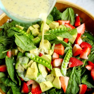 Israeli Couscous Salad with Strawberries, Snap Peas, & Lemon Poppy Seed Dressing