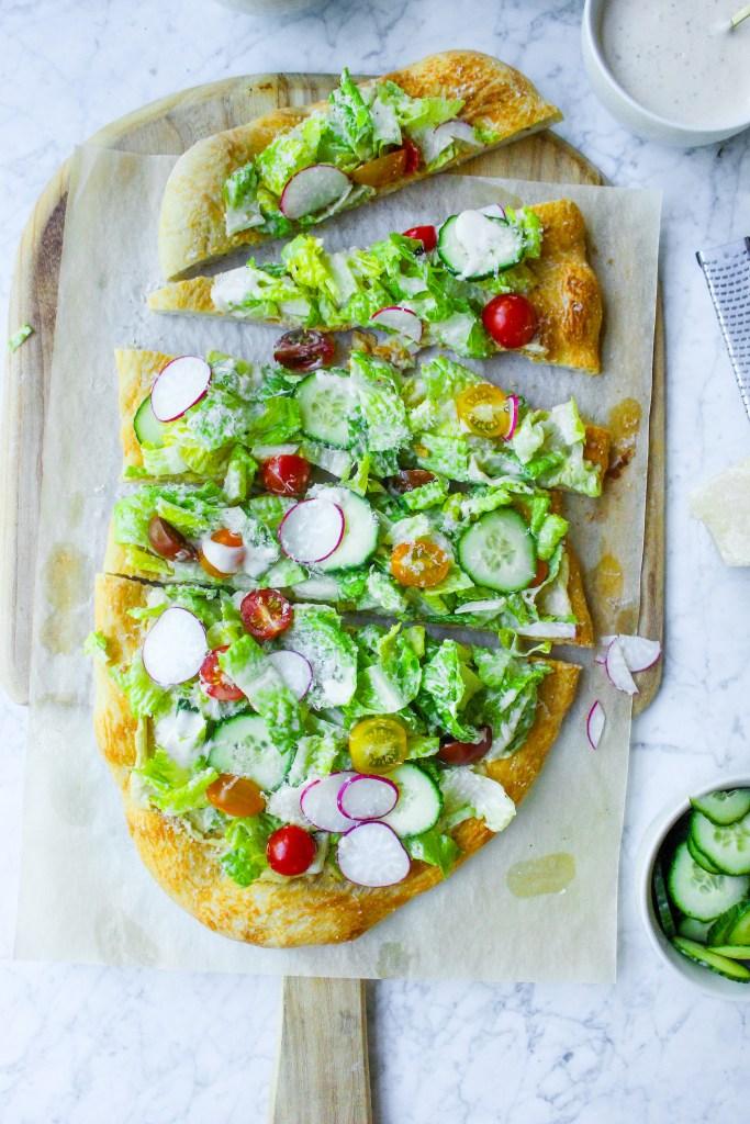 Hummus & Caesar Salad Flatbread