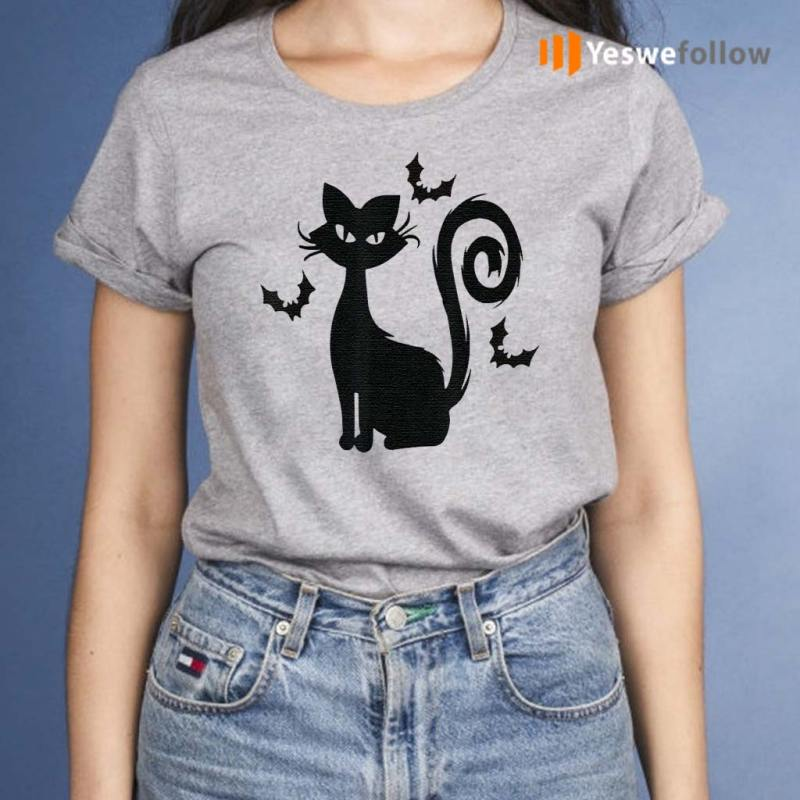 Black-Cat-With-Bats-Funny-Halloween-T-Shirts