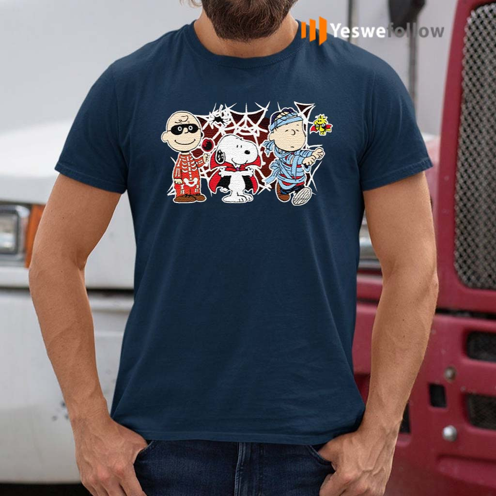 Charlie-Woodstock-Linus-Snoopy-Halloween-Night-Costumes-T-Shirt