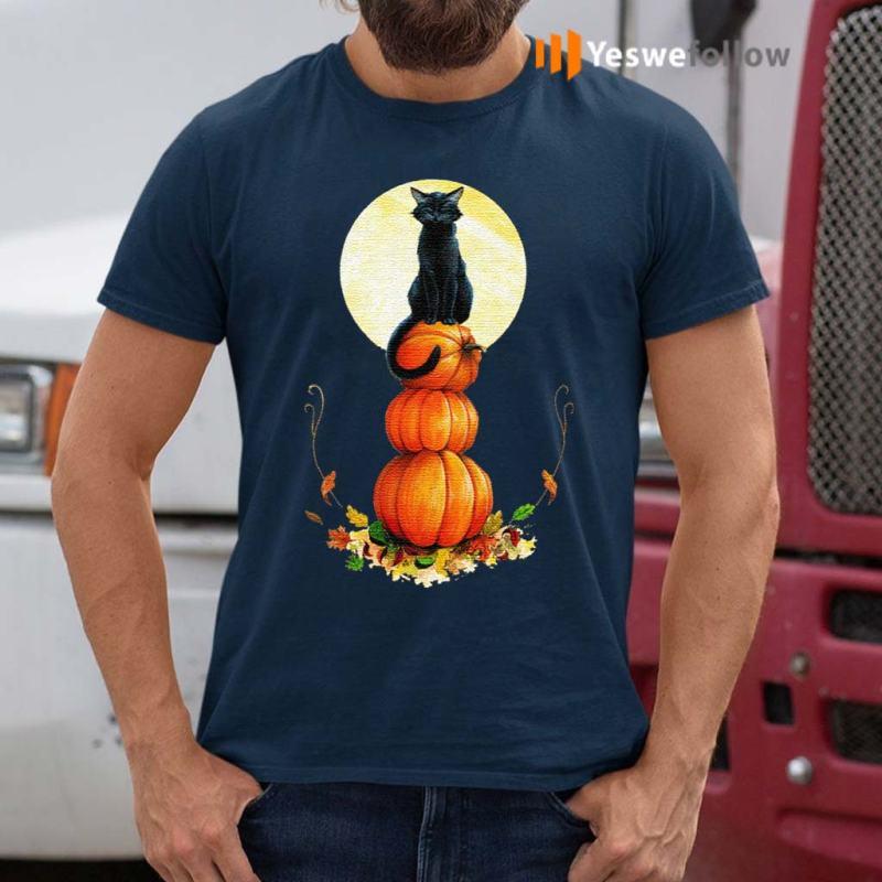 Full-Moon-Halloween-Pumpkin-Cat-T-Shirts