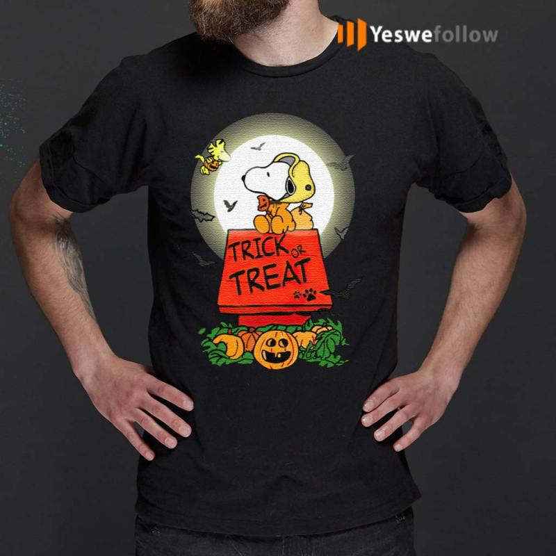 Halloween-Trick-Or-Treat-Pumbkin-Woodstock-And-Snoopy-T-Shirt