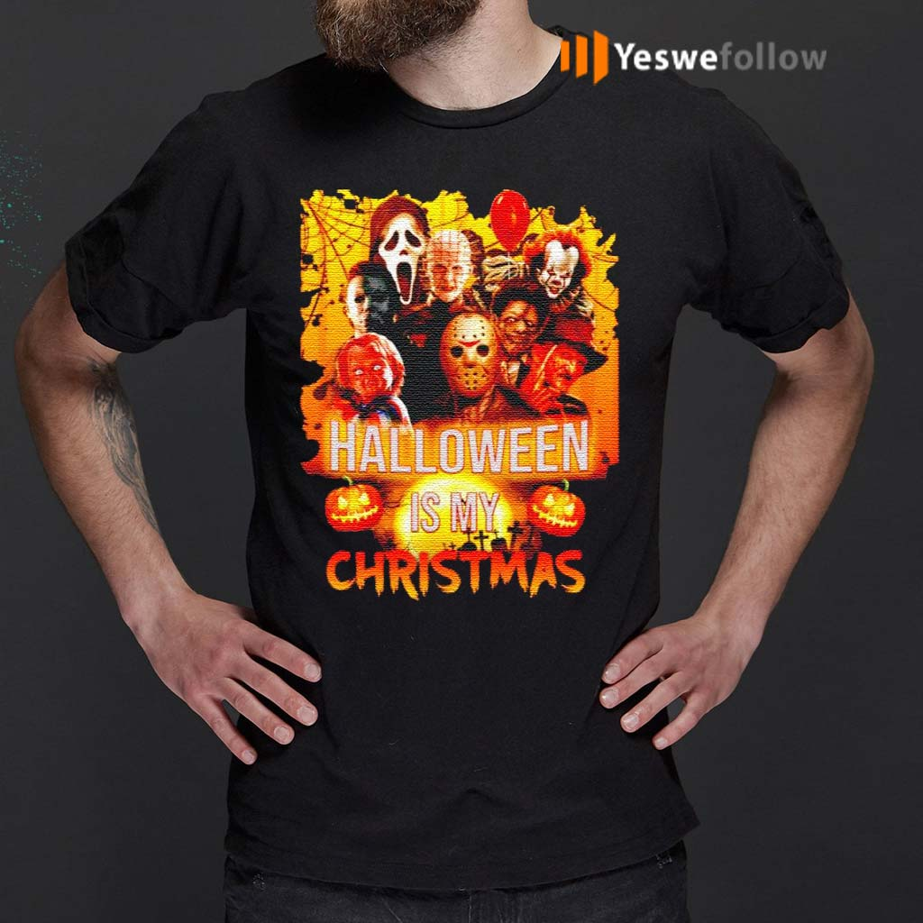 Horror-movie-characters-Halloween-is-my-Christmas-shirt