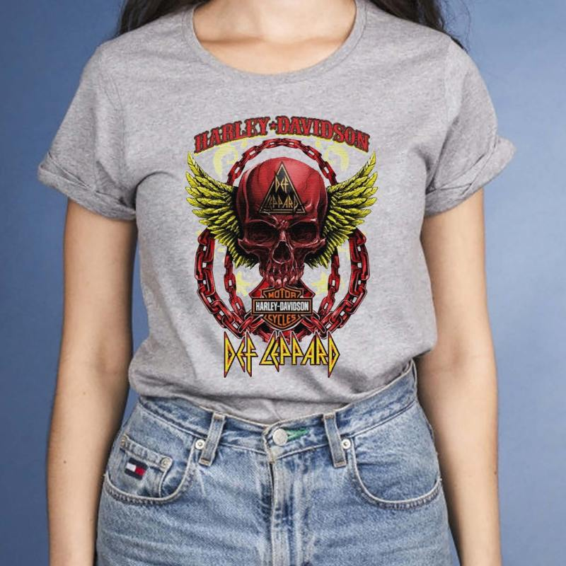 Skull-Angel-wings-Harley-Davidson-and-Def-Leppard-band-T-Shirt