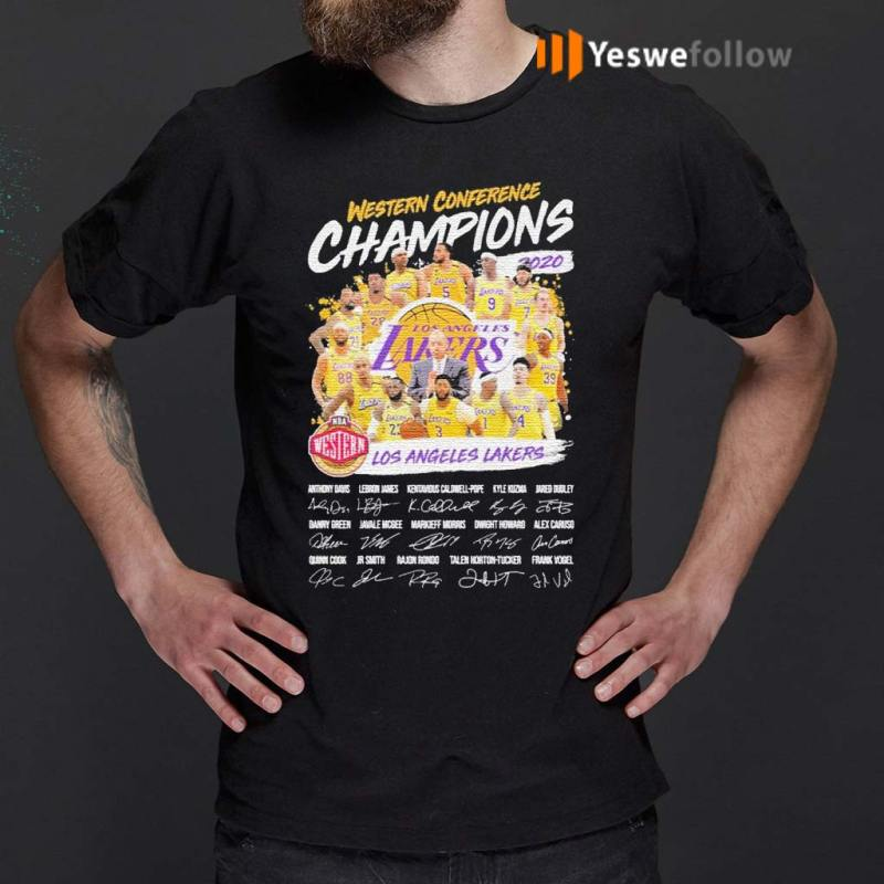 Western-Conference-Champions-2020-NBA-Los-Angeles-Lakers-signatures-shirt