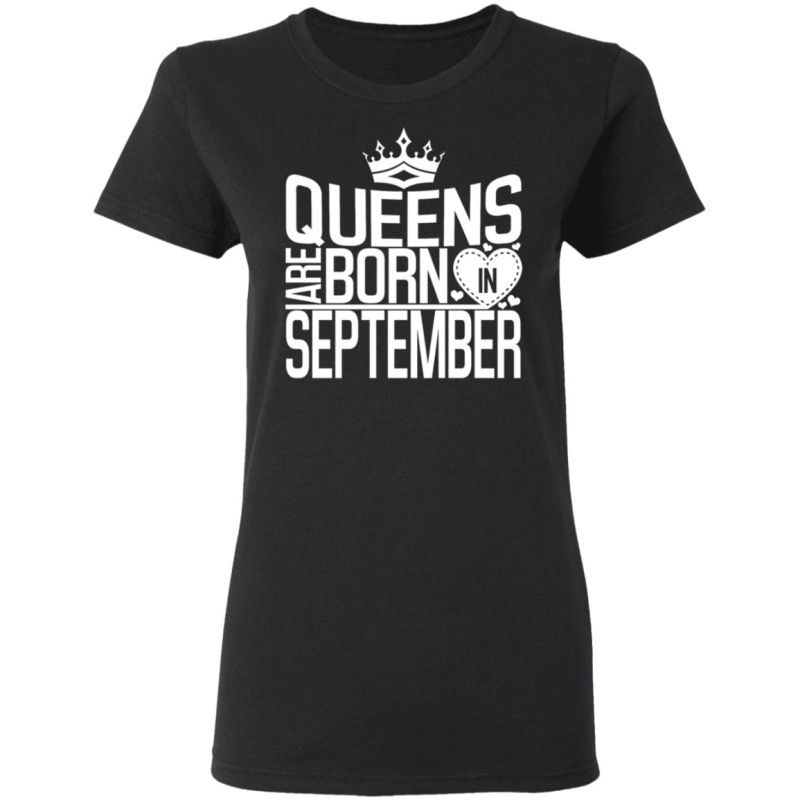 Queens Are Born In September Birthday TShirt for Black Women T-Shirt