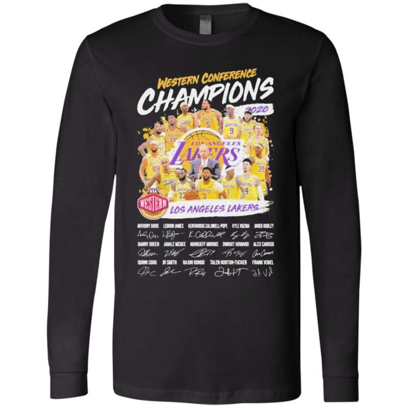 Western Conference Champions 2020 NBA Los Angeles Lakers signatures t shirt