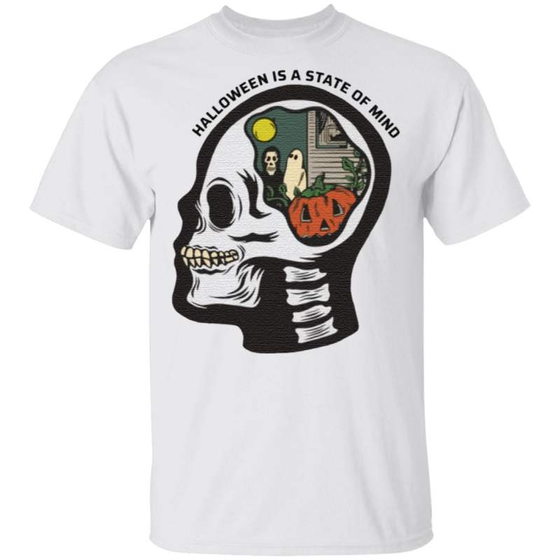 Halloween Is A State Of Mind Skull T Shirt