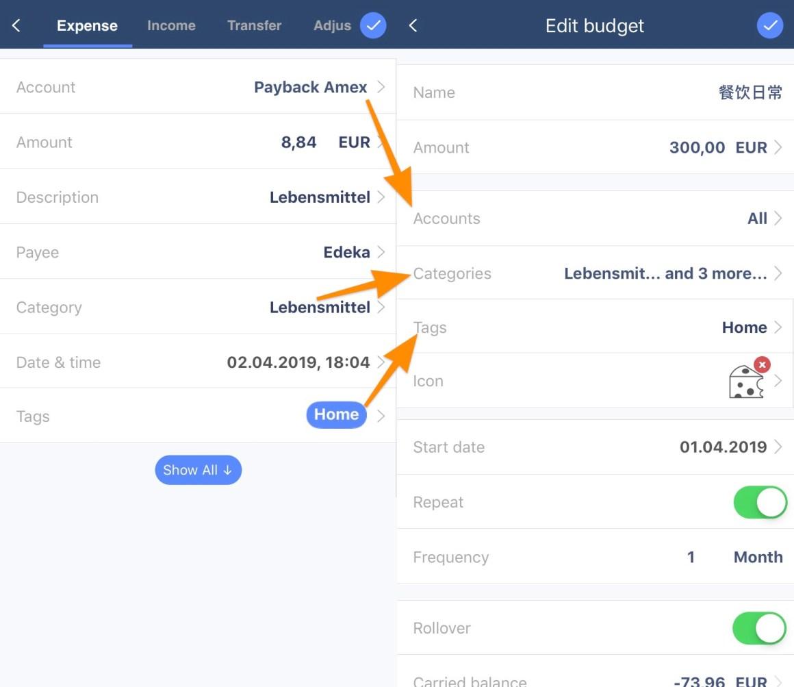 MoneyWiz 预算系统图示