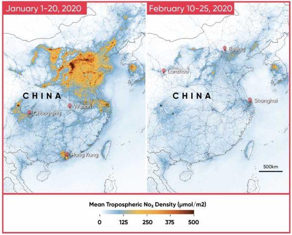 Çinde Covid-19 sonrası azalan NO2 kaynaklı hava kirliliği