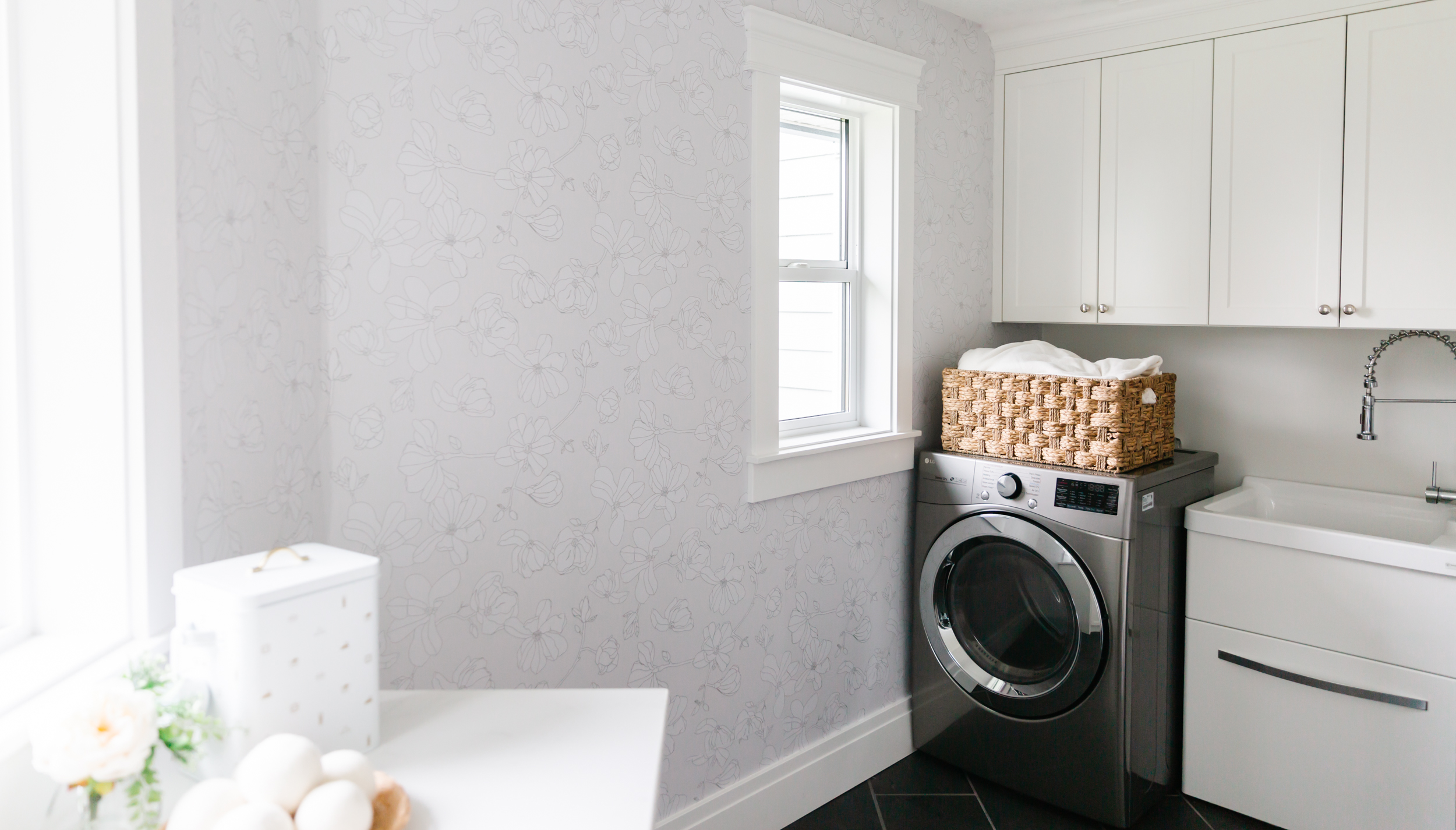 laundry room makeover with floral wallpaper