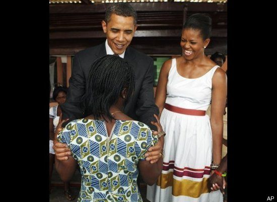 THE OBAMAS AT THE LA GENERAL HOSPITAL,ACCRA