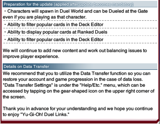 The Organization | [Duel Links] Technical Updates (April 22nd, 2018)