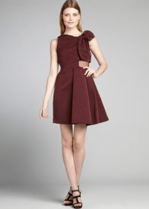 Plum Ribbed Cotton Blend Sheer Silk Paneled 'Ottoman' Dress, $239.20