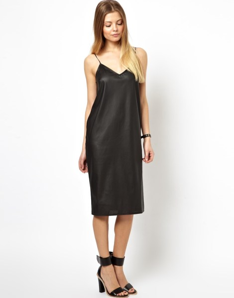$71.50, Leather Look Cami Dress, ASOS