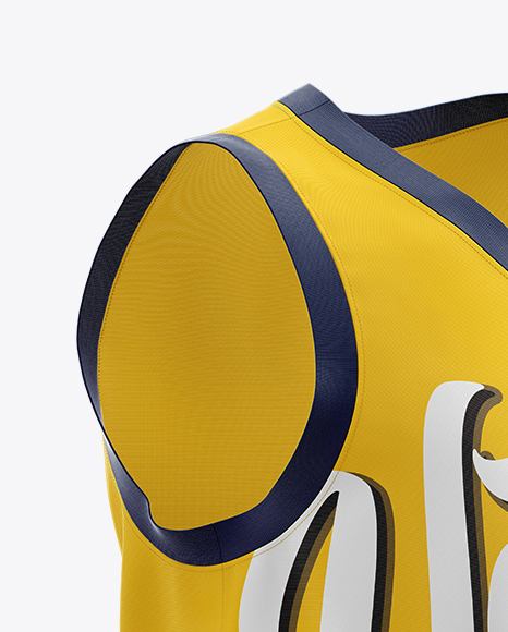 Download Basketball Jersey With V Neck Mockup Front View Yellow Images