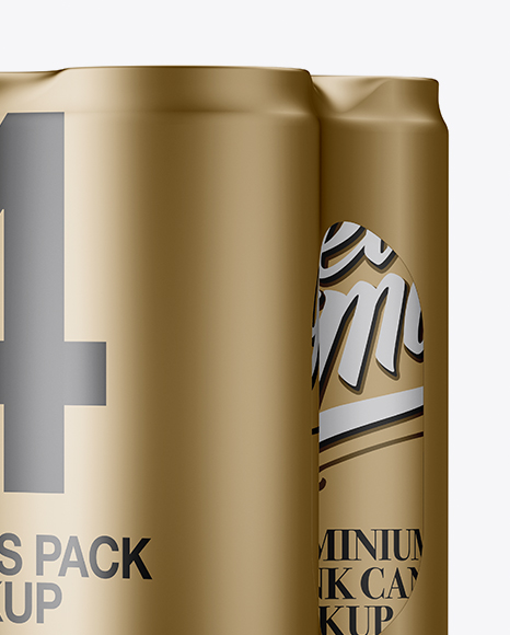 Download Glossy Metallic Cans In Shrink Wrap Psd Mockup Yellowimages