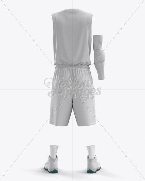 Download Basketball Kit W V Neck Mockup Front View Yellow Images