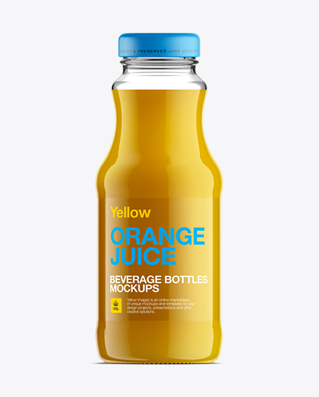 Download Clear Glass Bottle Orange Juice Psd Mockup Yellow Images