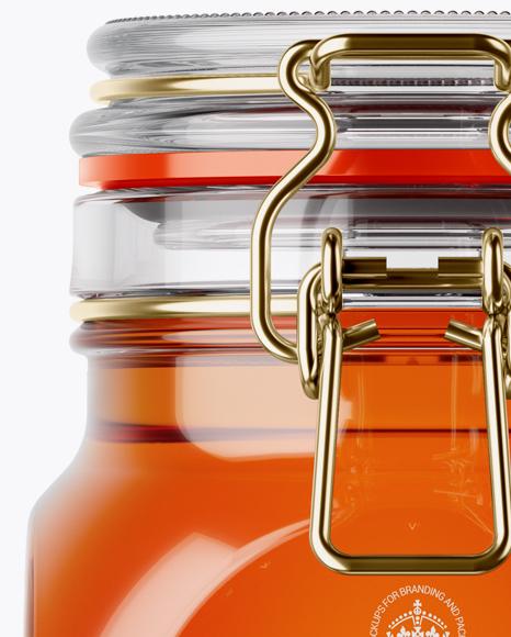 Download 100ml Amber Glass Jam Jar Clamp Lid Mockup Halfside View High Angle Shot Yellowimages