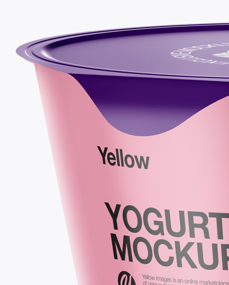 Download Glossy Cup With Foil Lid Psd Mockup High Angle Shot Yellow Images