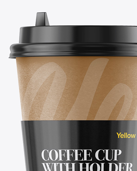 Download Coffee Cup With Paper Sleeve Psd Mockup Yellow Images