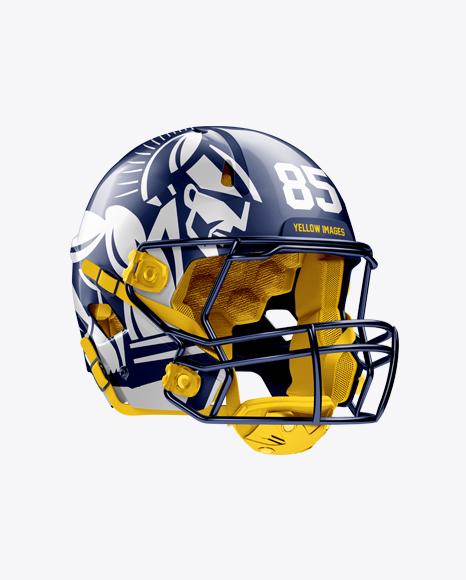 Download American Football Helmet Mockup Top Halfside View Yellowimages