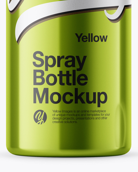 Download Opened Metallic Spray Bottle With Plastic Cap Psd Mockup Yellow Images
